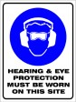 HEARING & EYE PROTECTION MUST BE WORN, 600MM X 450MM X 5MM THICK
